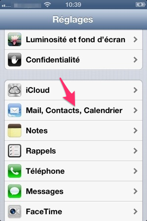 Mails, Contacts, Calendriers