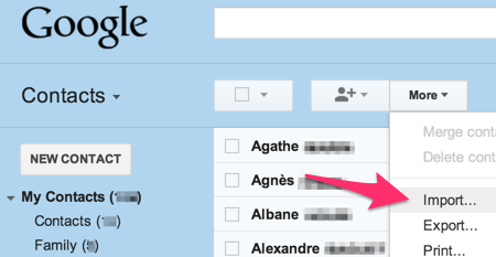 Rubrique Contacts de GMail