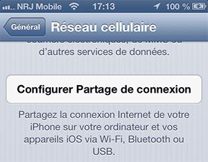 Partage de connexion iOS