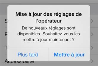 Mise à jour opérateur - iOS