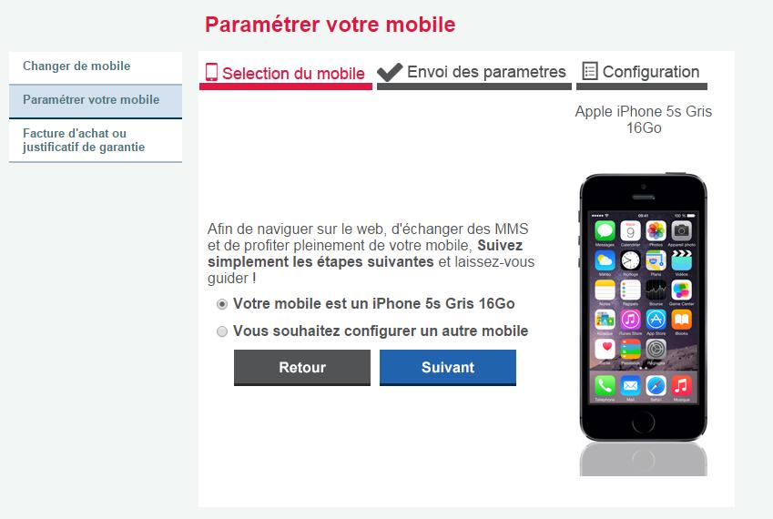 Choix du mobile - Paramétrage - Espace Client
