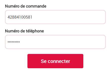 Capture des champs d'authentification avec les champs Numero de commande et Numéro de téléphone